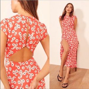 🆕 Reformation red floral daisy maxi dress-size 12